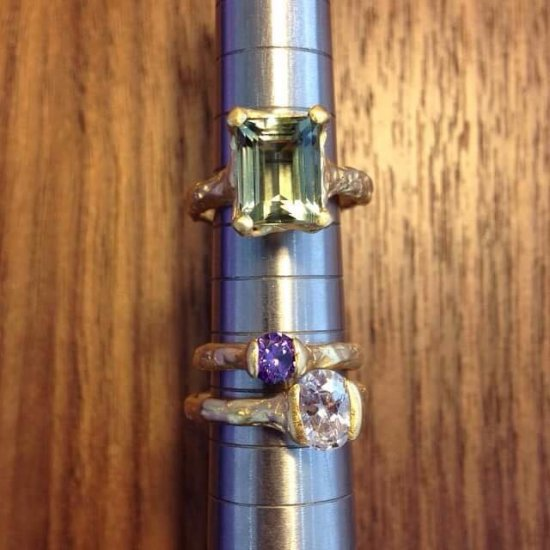 Cave Single Stone Treasure Rings x3 - Click Image to Close